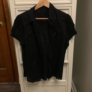 Thin short sleeve black button up blouse